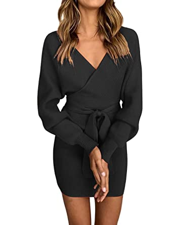 b0ee0f55e53 Image Unavailable. Image not available for. Color  VIEWIM Women s Casual V  Neck Long Sleeve Faux Wrap Sexy Bodycon Pencil Sweater Dress ...