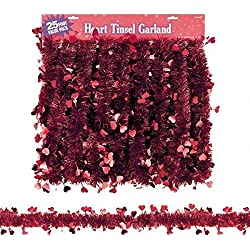 Amscan Valentine's Day Tinsel & Foil Hearts Garland Hanging Decoration (1 Piece), Red, 25'