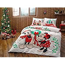 MICKEY MINNIE NEW YEARS CHRISTMAS THEMED OFFICIAL DISNEY & CARTOON CHARACTER QUEEN DOUBLE DUVET COVER QUILT COVER BEDDING SET