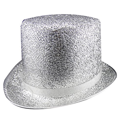 Dress Up America Kids' Big Silver Top Hat, One Size Fits Mone Sizet]()