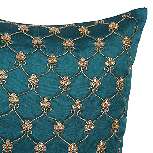 The White Petals Dark Teal Decorative Throw Pillow Cover Lattice Interesting Dark Teal Decorative Pillows