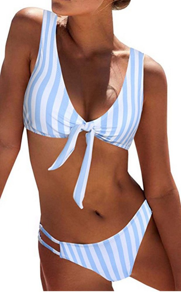 Duseedik Women's Swimsuit Sexy Polka Dot Bow Detachable Padded Cutout Push up Striped Bikini Set Blue