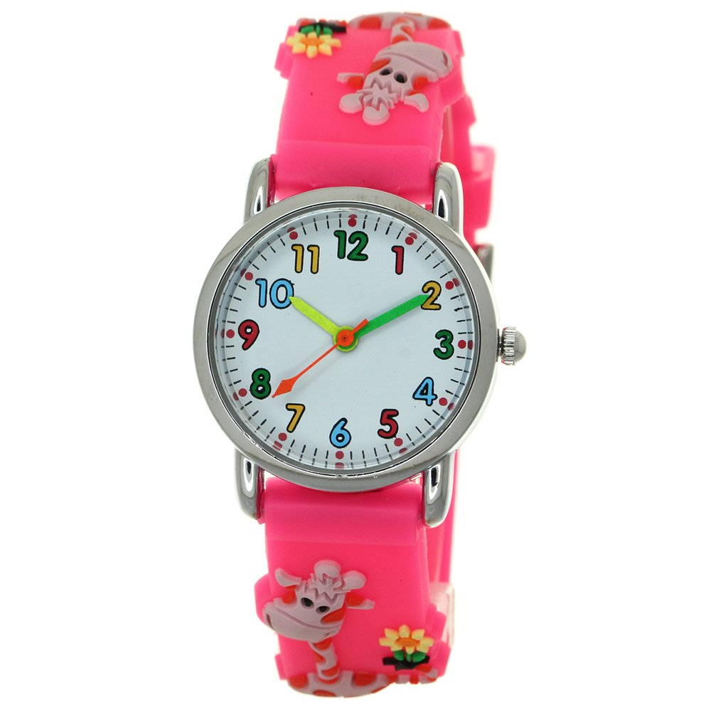 7a4351380 3D Silicone Strap Round Case Japanese Quartz Kids Waterproof Clasp Rubber  Band Arabic Numerial with Cartoon Character Dial Children Toddler  Wristwatches ...