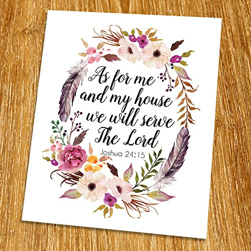 Joshua 24:15 We will serve The Lord Print (Unframed), Watercolor feather, Scripture Art, Bible Verse Print, Christian Wall Art, Motivational Poster, 8x10