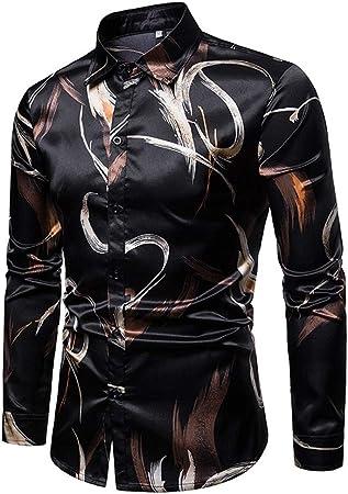 Fanuosums Camisas para Hombre Regular Fit, Geek diseño Impreso de Manga Larga con Botones de Manga Corta con Botones de los Hombres Tops (Color, tamaño : XXL): Amazon.es: Hogar