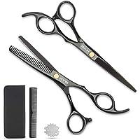 Haarschere Set KYG Friseurscheren 2 scharfe Effilierscheren präzise Haarschnitte rostfrei edelstahl mit 1 Kamm 16.5cm für jedes Haar Schwarz