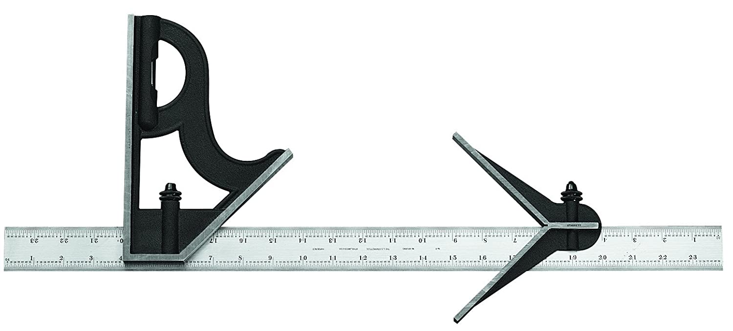 Starrett 11H-18-4R Combination Square with Cast Iron Head and Black Wrinkle Finish