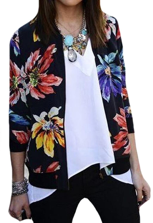 OULIU Women Beautiful Long Sleeve National Style Printing Coat