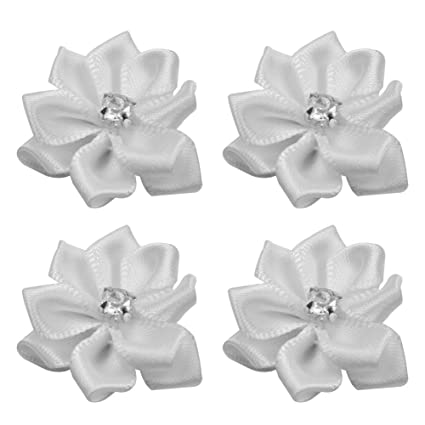 lecimo 40 piezas de flores de raso hechos a mano con aplicaciones de pedrería para coser