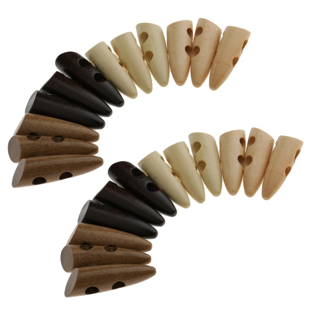 Fityle 24 Pieces 2 Holes Wooden Buttons Sewing Horn Toggle Buttons For Clothing Coat Overcoat Decoration
