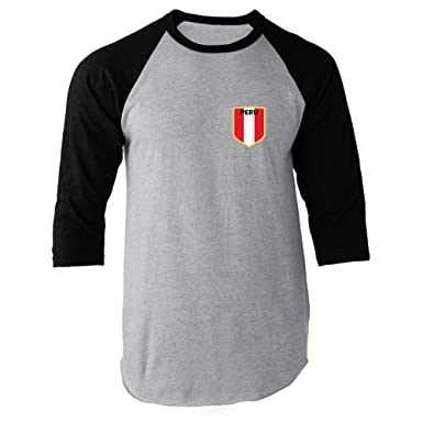 Peru Soccer Retro National Team Black S Raglan Baseball Tee
