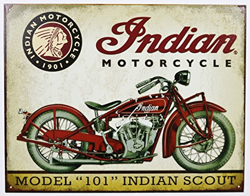 UNiQ Designs INDIAN MOTORCYCLE MODEL 101 INDIAN SCOUT 8 x 12 inch retro vintage wall décor (Uniq Gifts)
