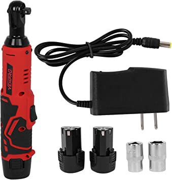"""3//8/""""12V LED Right Angle Cordless Electric Ratchet Wrench Tool 2x Li-Ion Battery"""