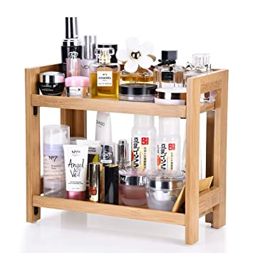 Amazon Com Bamboo Makeup Organizer Cosmetics Storage Holder With 2