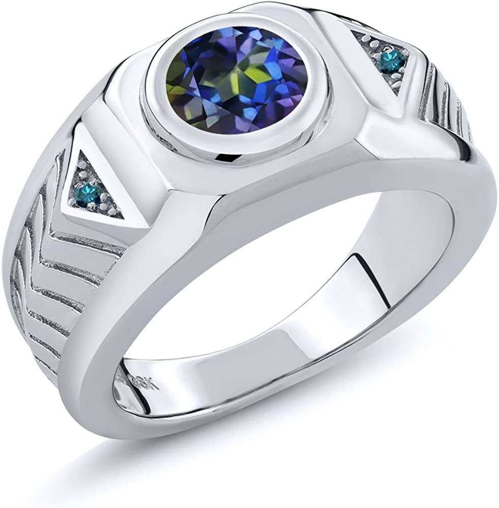 Gem Stone King 2.03 Ct Round Blue Mystic Topaz Blue Diamond 925 Sterling Silver Mens Ring