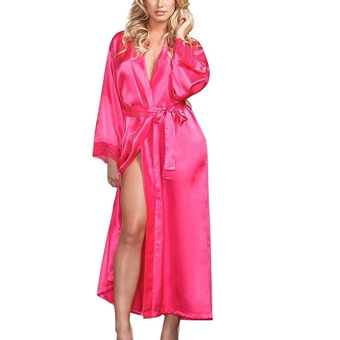 e2abad7b74a34c Sansee Morgenmantel Bademantel Damen Seide Kimono Lange Robe ...