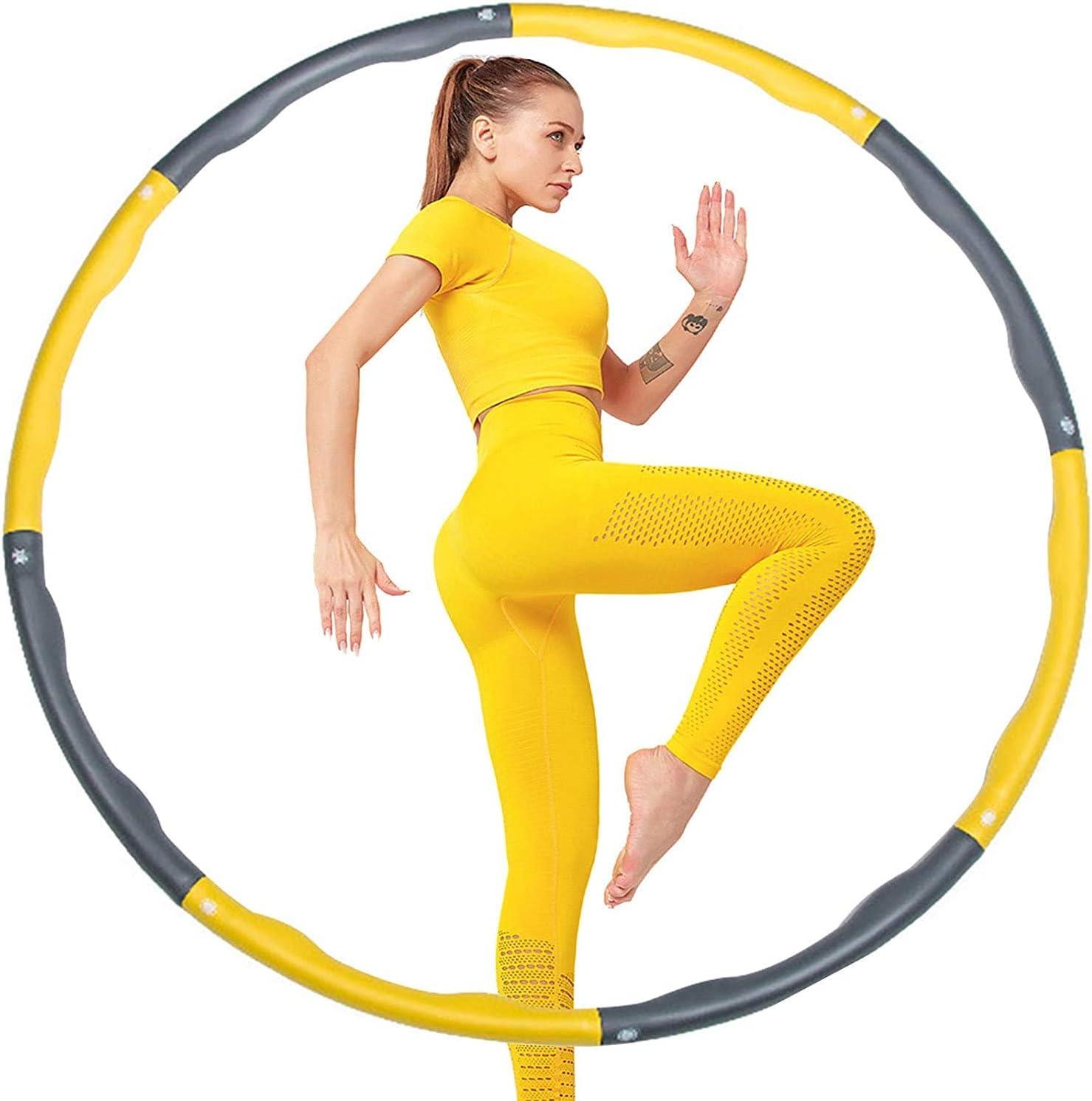 8 Abschnitt Abnehmbares Design Hula Hoop Reifen Erwachsene mit Mini Bandma/ß kommt Gkodeamig Hula Hoop Reifen Zusammenklappbare /& Einstellbare Fitness Ubung Hula Hoop
