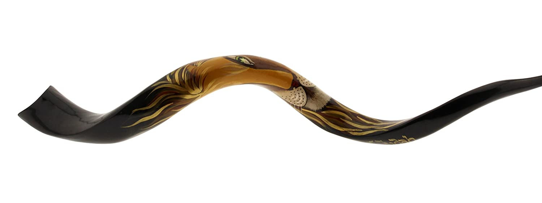 Magnífico mano pintado Kudu cuerno Yemenite Shofar con diseño de León de judá (grandes 44