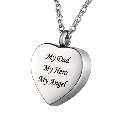 Housweety cremation jewellery stainless steel my dad my hero my housweety cremation jewellery stainless steel quotmy dad my hero my angelquot heart urn mozeypictures Choice Image