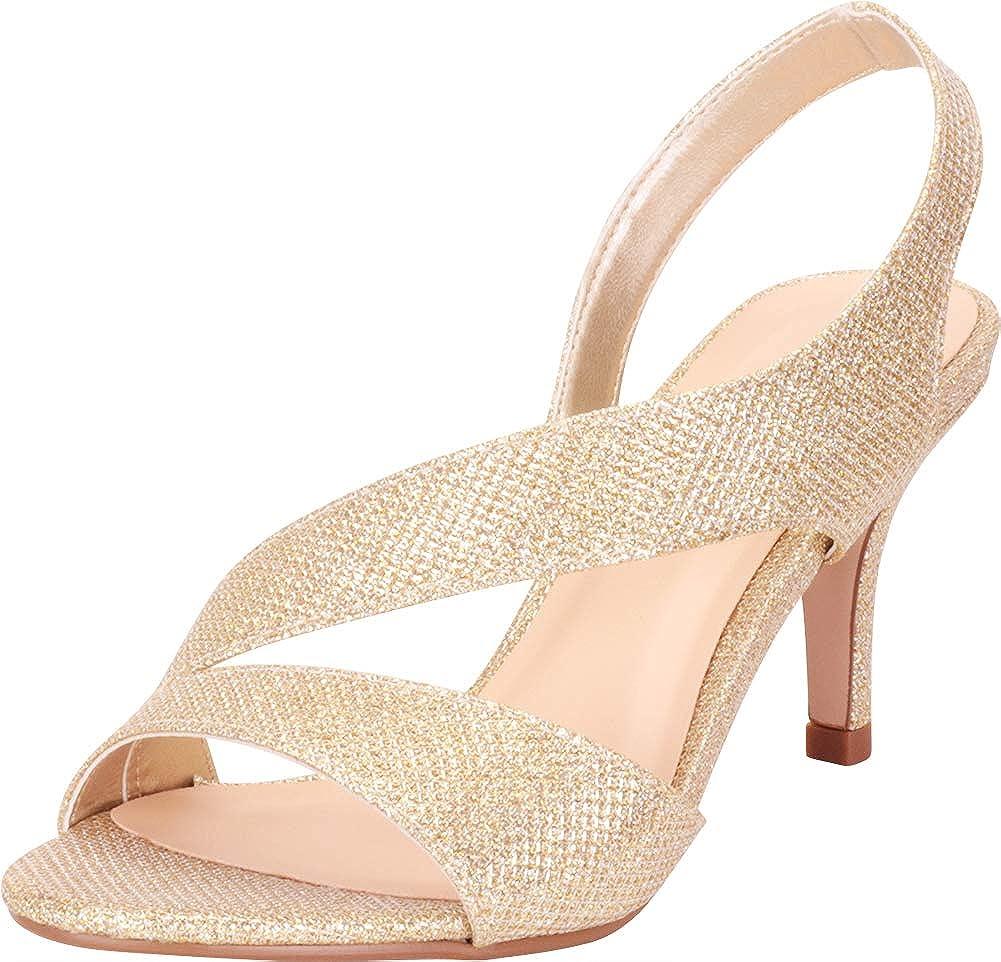Light gold Shimmer Cambridge Select Women's Open Toe Strappy Stretch Slingback Mid Heel Dress Sandal