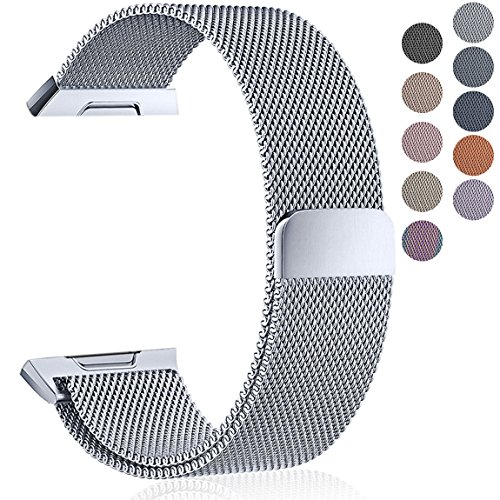 Maledan Metal Bands Compatible with Fitbit Ionic, Stainless Steel Milanese Loop Replacement Accessories Bracelet Strap with Magnet Closure for Fitbit Ionic Smart Watch, Silver, Large
