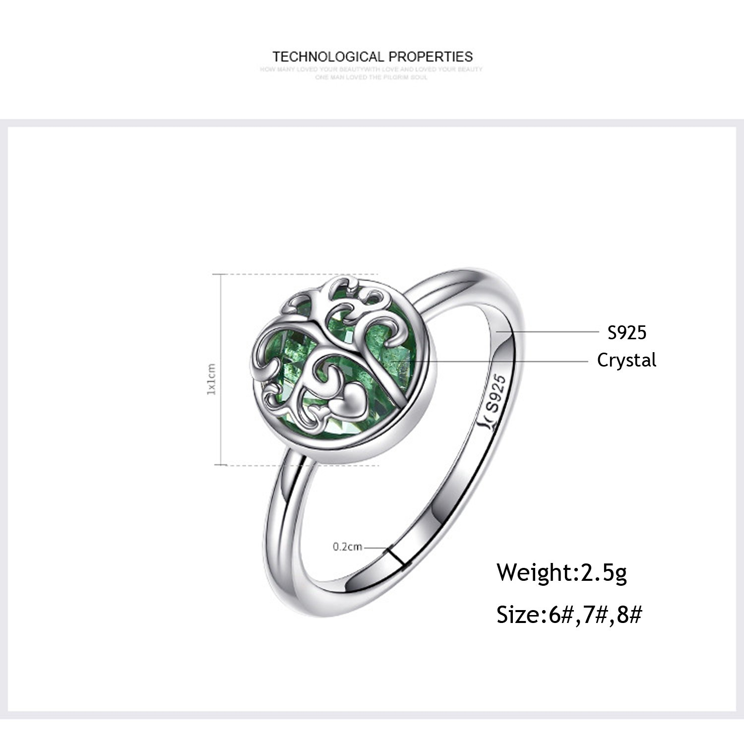 c3d15fe56 Amazon.com: 925 Sterling Silver Family Tree of Life Green Birthstone Crystal  Ring Healing Ring Gift for Women Jewelry: Jewelry