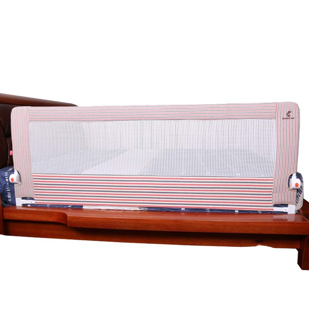 ベッドフェンス 折りたたみ式ストライプベッドレール、キッズツイン用ベッドガードコットン、ミュートボタン付きベッドガードレール - ピンク (サイズ さいず : 1.8m) 1.8m  B07PZRQKHK