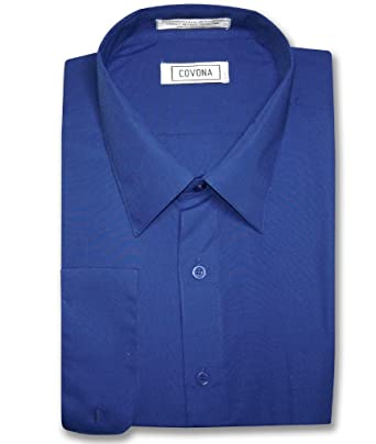 Men's Solid ROYAL BLUE Color Dress Shirt w/ Convertible Cuffs at ...
