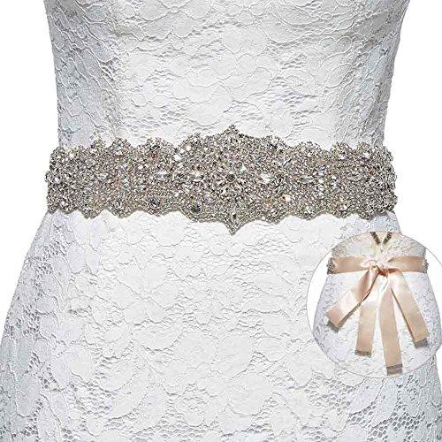 Sisjuly Women's Crystal Sash Rhinestone Wedding Belt for Prom Party Evening Dresses Champagne Rhinestone Dress With Crystals