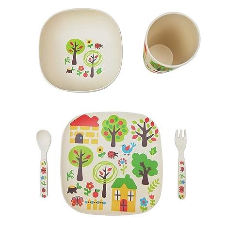 vajilla infantil bebe de bambú 5 Piezas cubertería para niños Vaso de Beber Plato para niños Reciclaje de Material Natural-jardin
