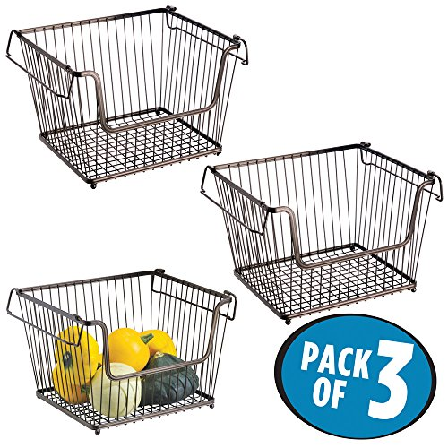 Bin Wire Rack Accessory (mDesign Household Stackable Wire Storage Organizer Bin Basket with Built-In Handles, Open Front for Kitchen Cabinets, Pantry, Closets, Bedrooms, Bathrooms - Large, Pack of 3, Steel in Bronze Finish)