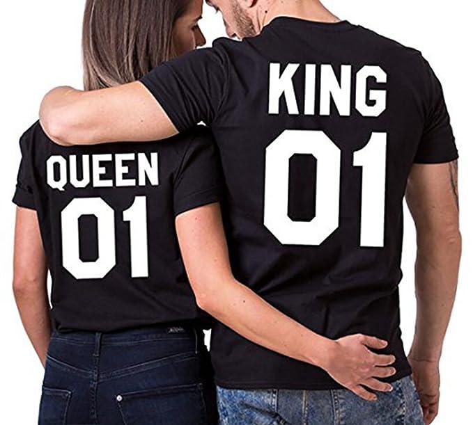 JWBBU Pareja Camiseta Set Rey Reina 01 Impresión Hombres Mujer Casual Fashion Tops Tees, San