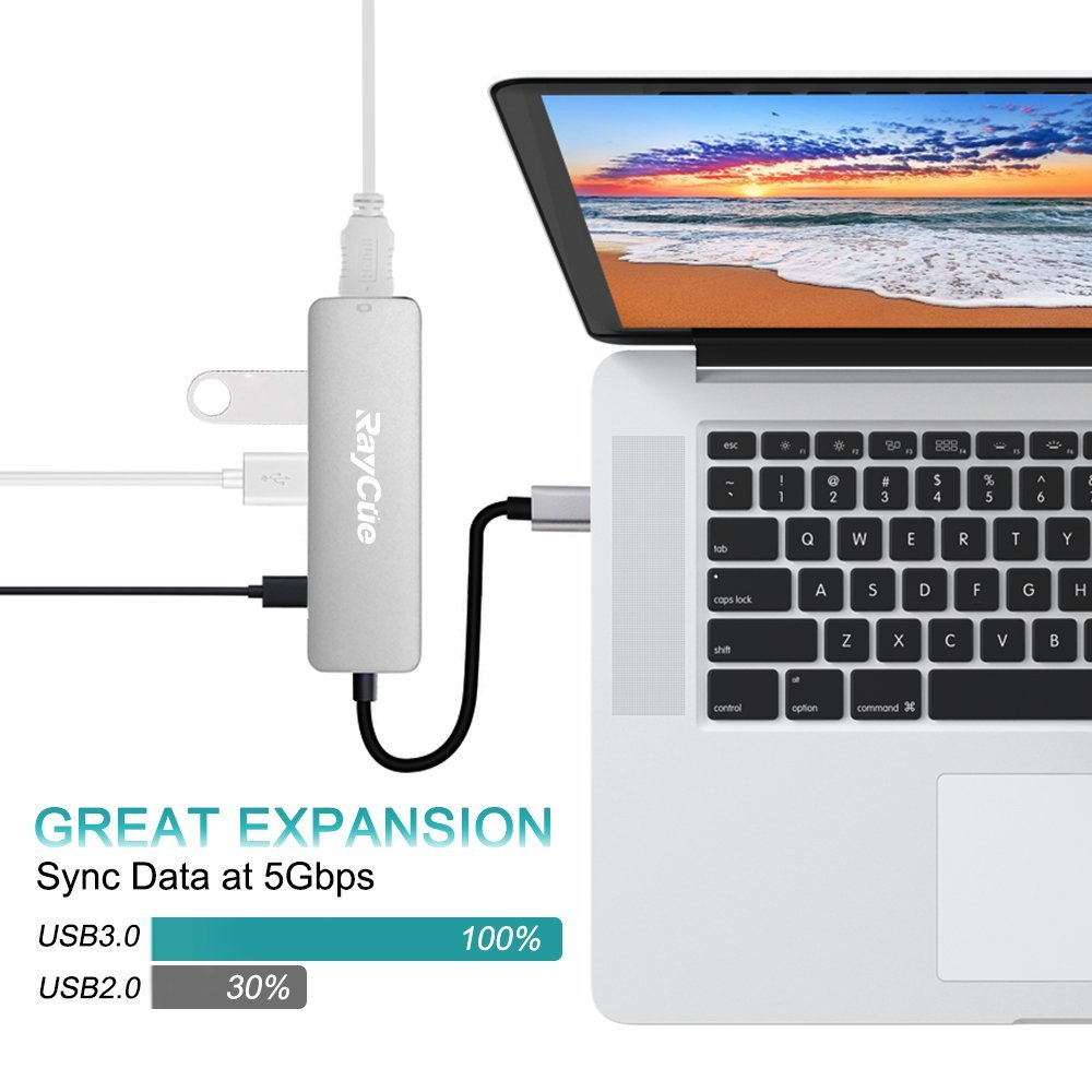 USB C Hub to 4K HDMI Adapter, Type C MacBook Adapter with 2 USB 3.0 and PD Power Delivery for Notebook & Tablet PC & Phone - MacBook/MacBook Pro, Chrome Pixelbook, DELL XPS etc. by RayCue (Image #4)