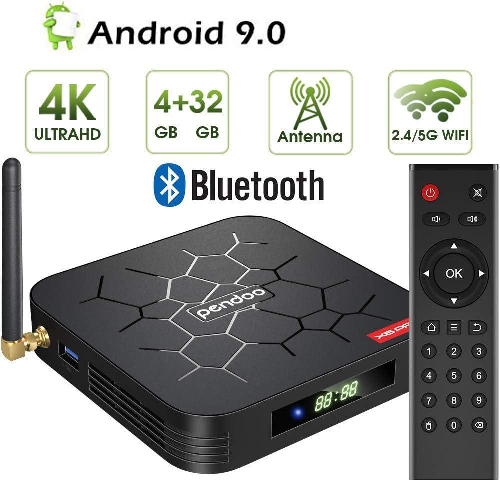 TV Box Android 9.0, Smart TV Box 4 GB De Memoria 32 GB ROM, Doble WLAN 2.4 GHz / 5 GHz Quad-Core Bluetooth 64 bits 3D / 4K Full HD/H.265: Amazon.es: Hogar