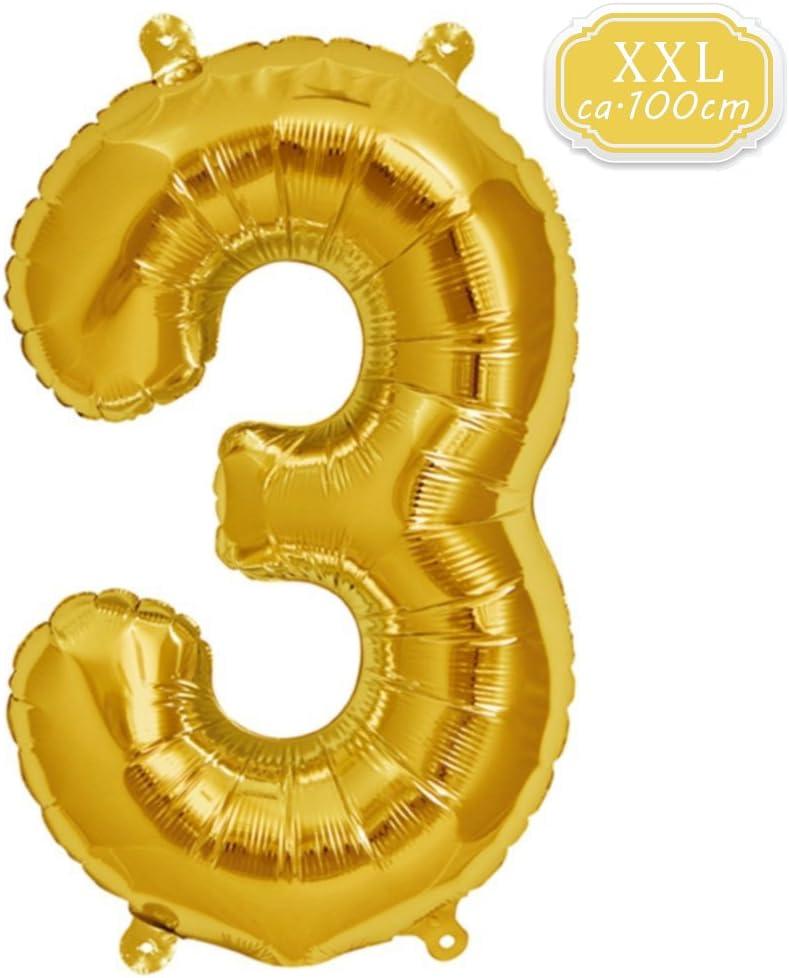 Gold Luftballon Zahlen f/ür Geburtstag Jubil/äum /& Party Geschenk partydeko Folienballon Zahlen Luftballons Happy Birthday Gold DeaGo XXL Folienballon Zahl ca.100cm