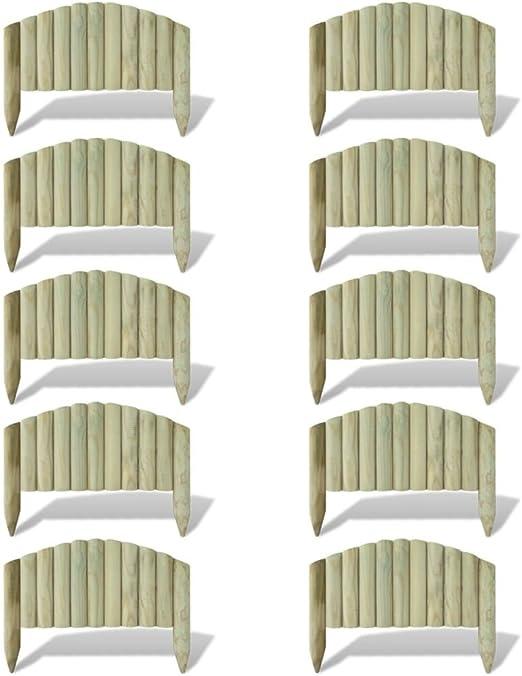 vidaXL 10x Bordures de Jardin en Bois FSC 55 cm Design Arche ...
