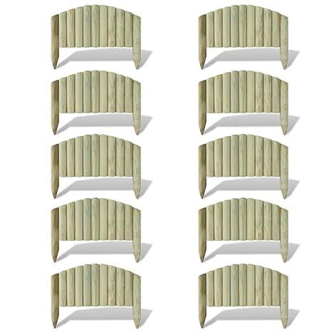 vidaXL 10x Bordures de Jardin en Bois 55 cm Design Arche Bordure à ...