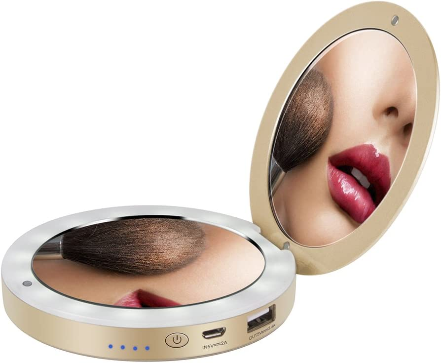 shinngo LED Lighted Travel Makeup Mirror Foldable Charger, Dual Vanity Mirror Compact Power Bank Illuminated Cosmetic Mirror, 1x/3x Magnifying Handheld Pocket Mirrors 3000mAh 2.1A Portable Charger