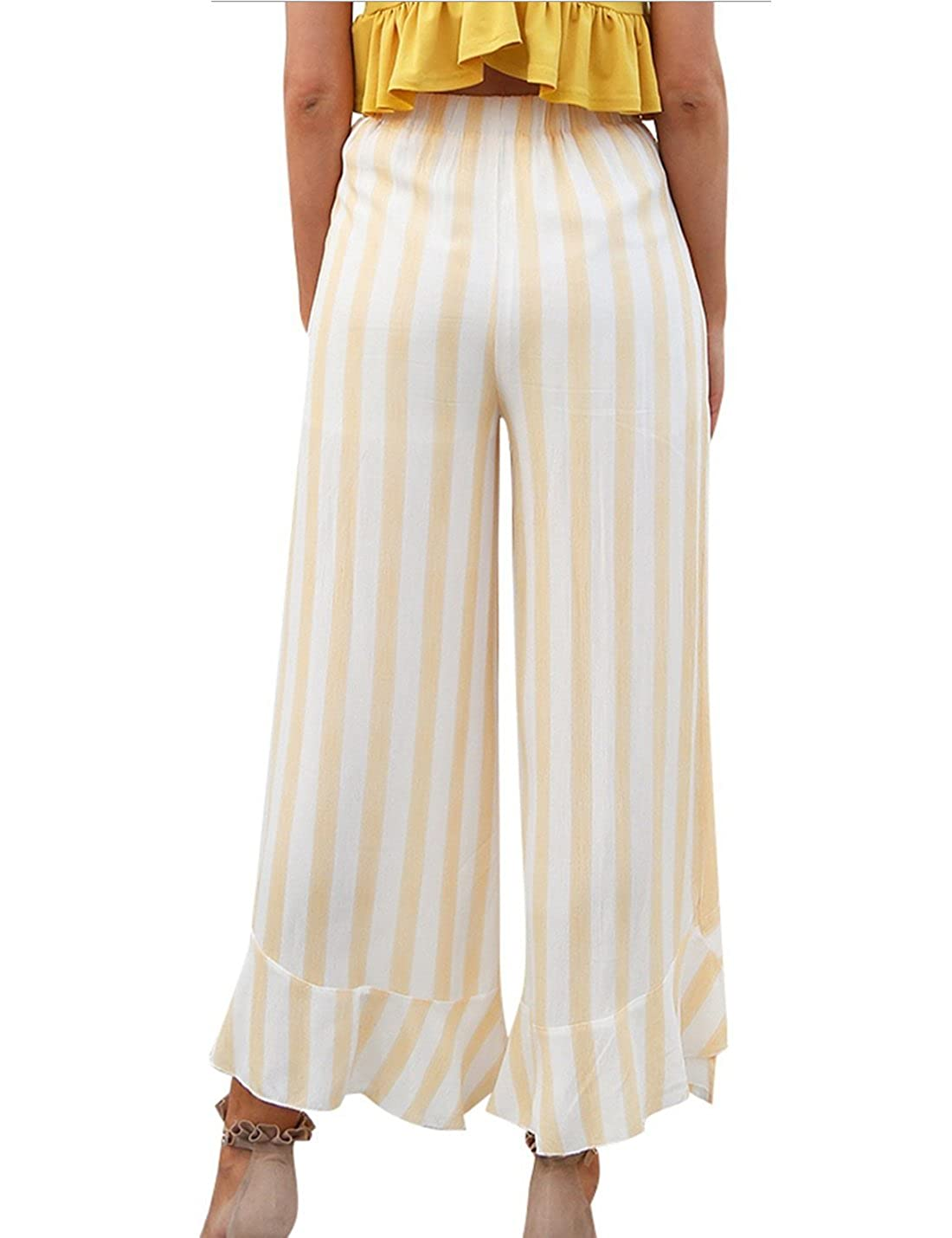 CAIYING Womens Summer Casual Palazzo Pants Striped Loose Wide Leg Pants