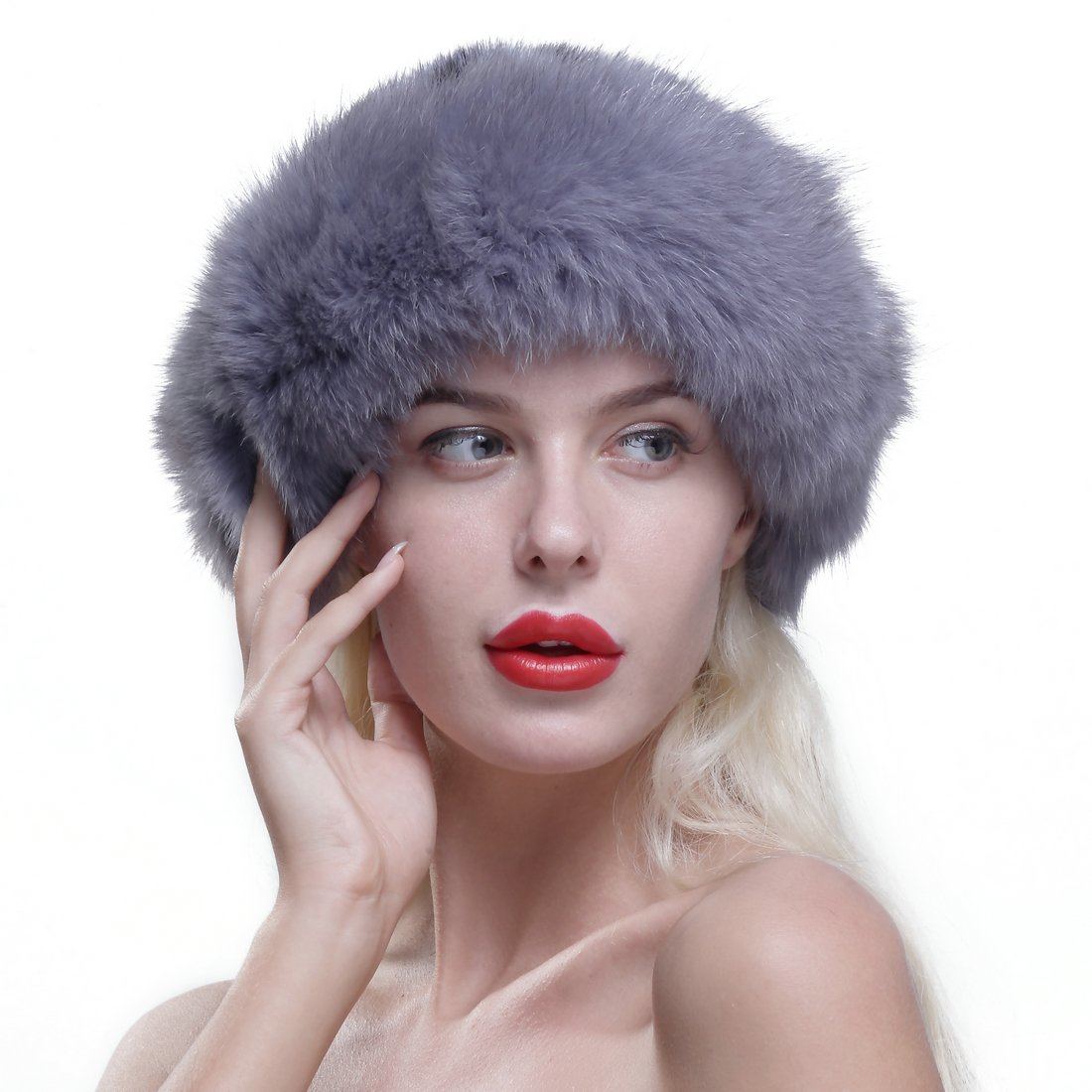 URSFUR Women's Real Fox Fur Roller Hat with Mink Top Multicolor Sapphire