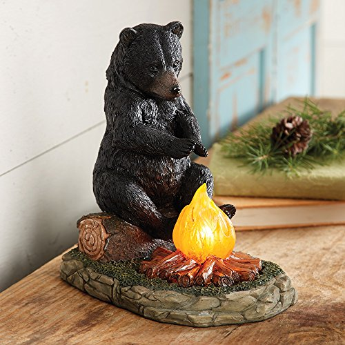 Black Forest Decor Bear Sitting by Campfire Accent Lamp