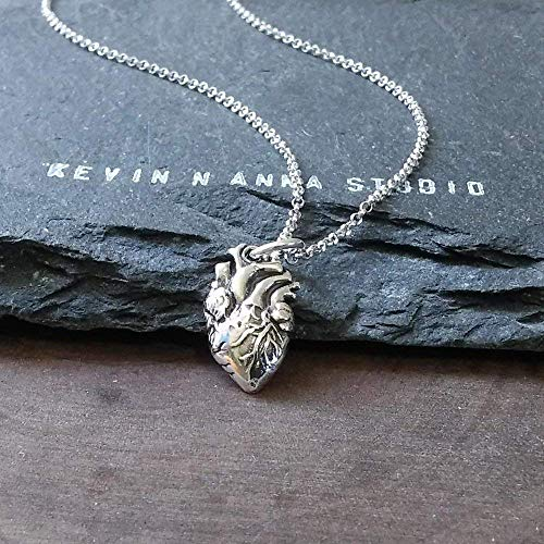 Sterling Silver Petite Anatomical Heart Charm Necklace, 18