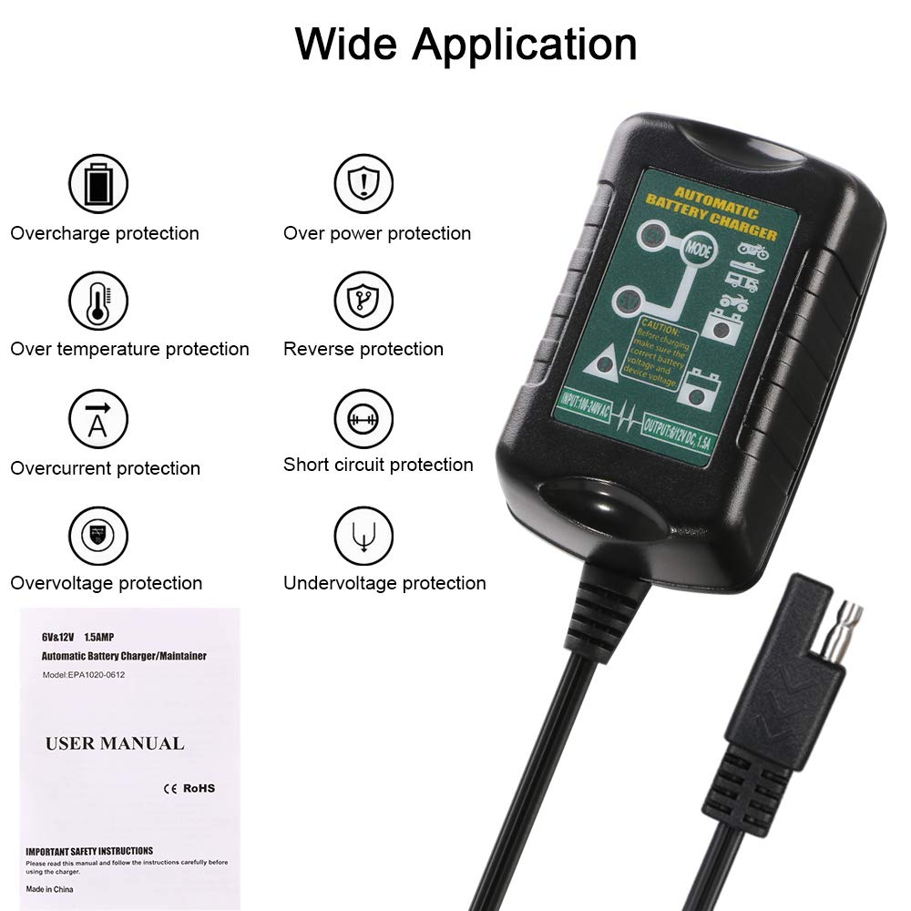 Cargador de Batería, URAQT 1.5A 6V 12V Mantenimiento Automático e Inteligente con Múltiples Protecciones para Automóviles, Motocicletas, ATVs, RVs, ...