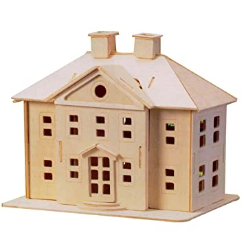 Maquette En Bois Kit Construction Country Mansion Maison 3D à Assembler  Peindre