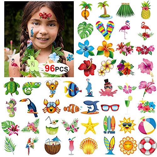 Konsait Summer Beach Pool Hawaiian Luau Themed Temporary Tattoos for Kids and Adults, 96 Assorted Tropical Tattoos, Tropical Party Decoration Supplies, Kids Birthday Party Bag Filler, Party Favors]()