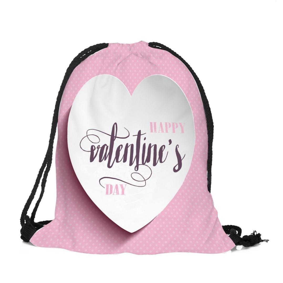 バックパックバッグ、Creazyバレンタインの日巾着バッグ袋スポーツジム旅行アウトドアバックパックバッグ B078SN9B1R  D