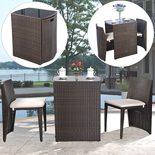 3 PCS Cushioned Outdoor Wicker Patio Set Garden Lawn Sofa Furniture Seat - Sc Greenville Outlets