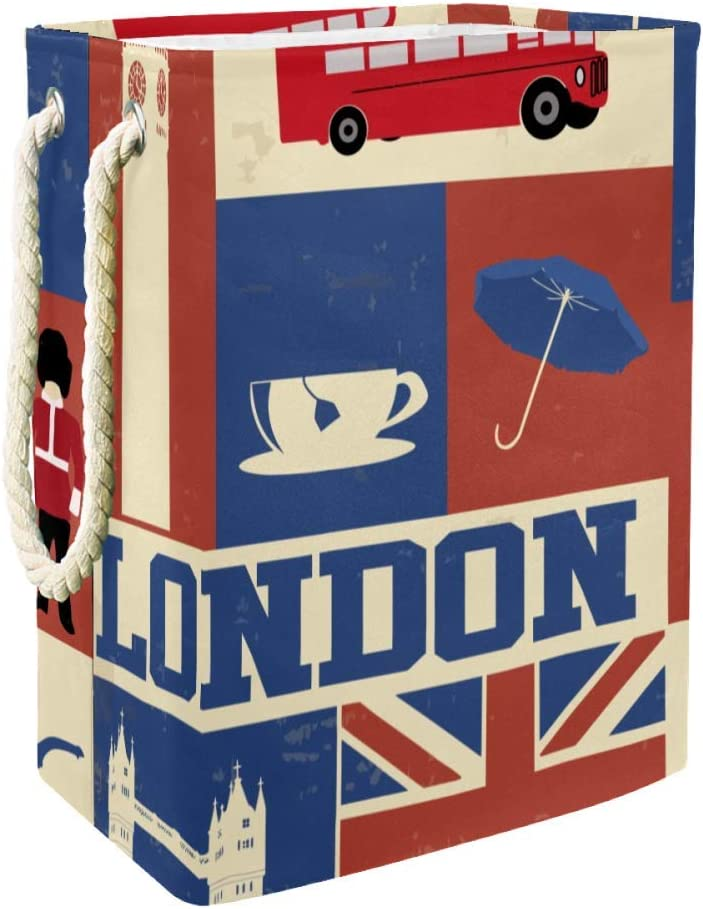 Unicey Retro Style Poster with London Symbols and Landmarks Household Organizer Basket Collapsible Laundry Hamper Bucket with Handles