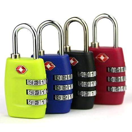 CHSUKHO Cerraduras de equipaje TSA, [3 paquetes] Candado de seguridad de 3 dígitos