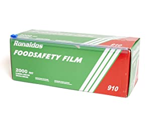 Ronaldos Food Safety Film, 12 inches x 2000ft Plastic Wrap, Commercial Grade, Used for Food Service Industry, Great for Sealing and Storage, Easy to Use Slide Cutter for Clean Cut Use (1 Box)